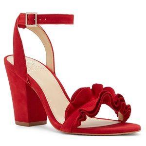 Vince Camuto Vinta Cherry Red Suede Heel 7